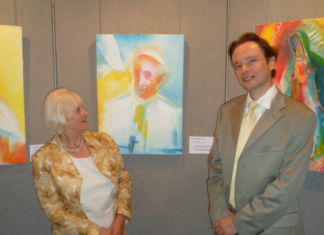 The Artist – Stephen B Whatley with Amanda C.Dickie, publicist at Westminster Cathedral Preview