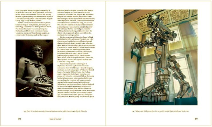 Double page spread with detail of The Artist as Hephaestus, 1987 and a summary account of the work.