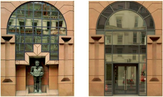 Before and after: The Artist as Hephaestus shown in situ 1987 -2012 and how the building looks, remodelled, today.