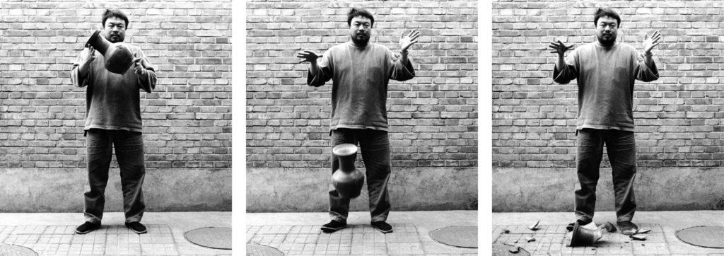 Ai Weiwei, Dropping a Han Dynasty Urn, 1995 3 black and white prints, each 148 x 121 cm Courtesy of Ai Weiwei Studio Image courtesy Ai Weiwei © Ai Weiwei