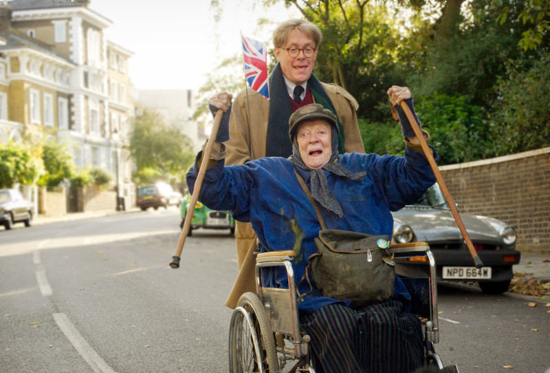 THE LADY IN THE VAN.Dame Maggie Smith plays Miss Shepherd and Alex Jennings plays Alan Bennett in The Lady In The Van