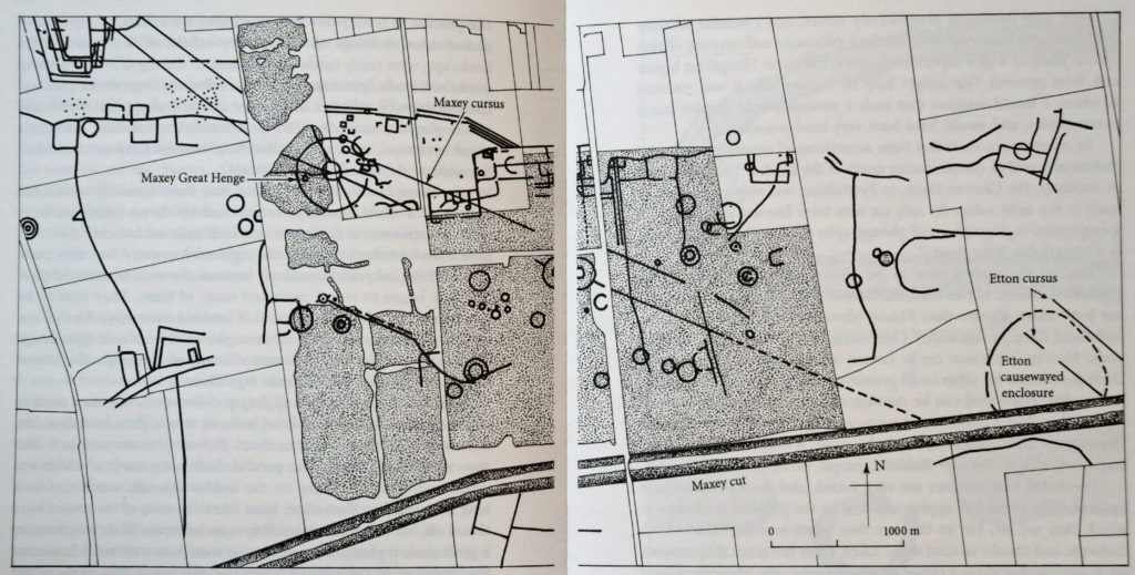 A plan of the ritual landscape near the villages of Maxey and Etton in the lower Welland valley, Cambridgeshire. The stippled areas have been destroyed by gravel-digging.