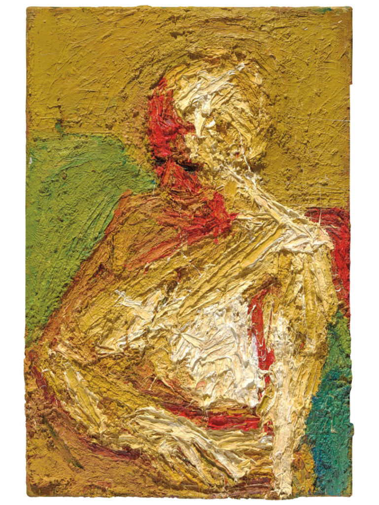 E. O. W Half-length Nude, 1958, Oil paint on board, 762 x 508 mm © Frank Auerbach, courtesy Marlborough Fine Arts