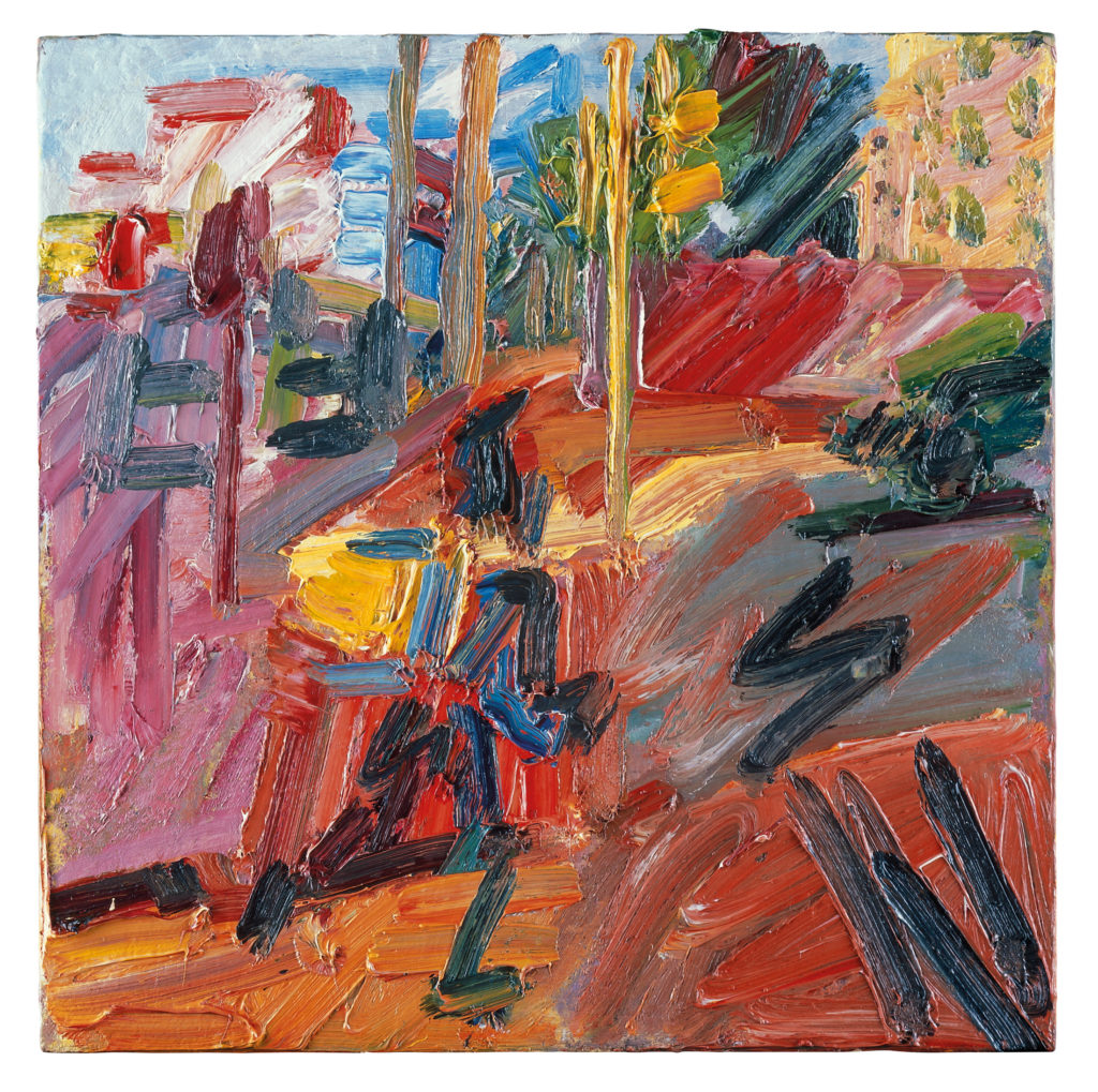 Hampstead Road, High Summer, 2010, Oil paint on board, 562 x 562 mm © Frank Auerbach, courtesy Marlborough Fine Art
