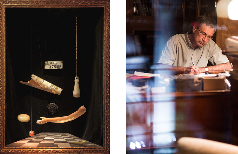 Left: The Museum of Innocence at Somerset House. Chapter 37. Right: Orhan Pamuk © Tommy Fitzgerald. Courtesy Grant Gee + Hot Property Films.