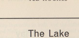 Title for Ted Hughes' poem The Lake, published in The London Magazine in July 1963
