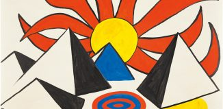 Alexander Calder, Composition (Pyramids and Sun on Target), 1973, ink and gouache on paper